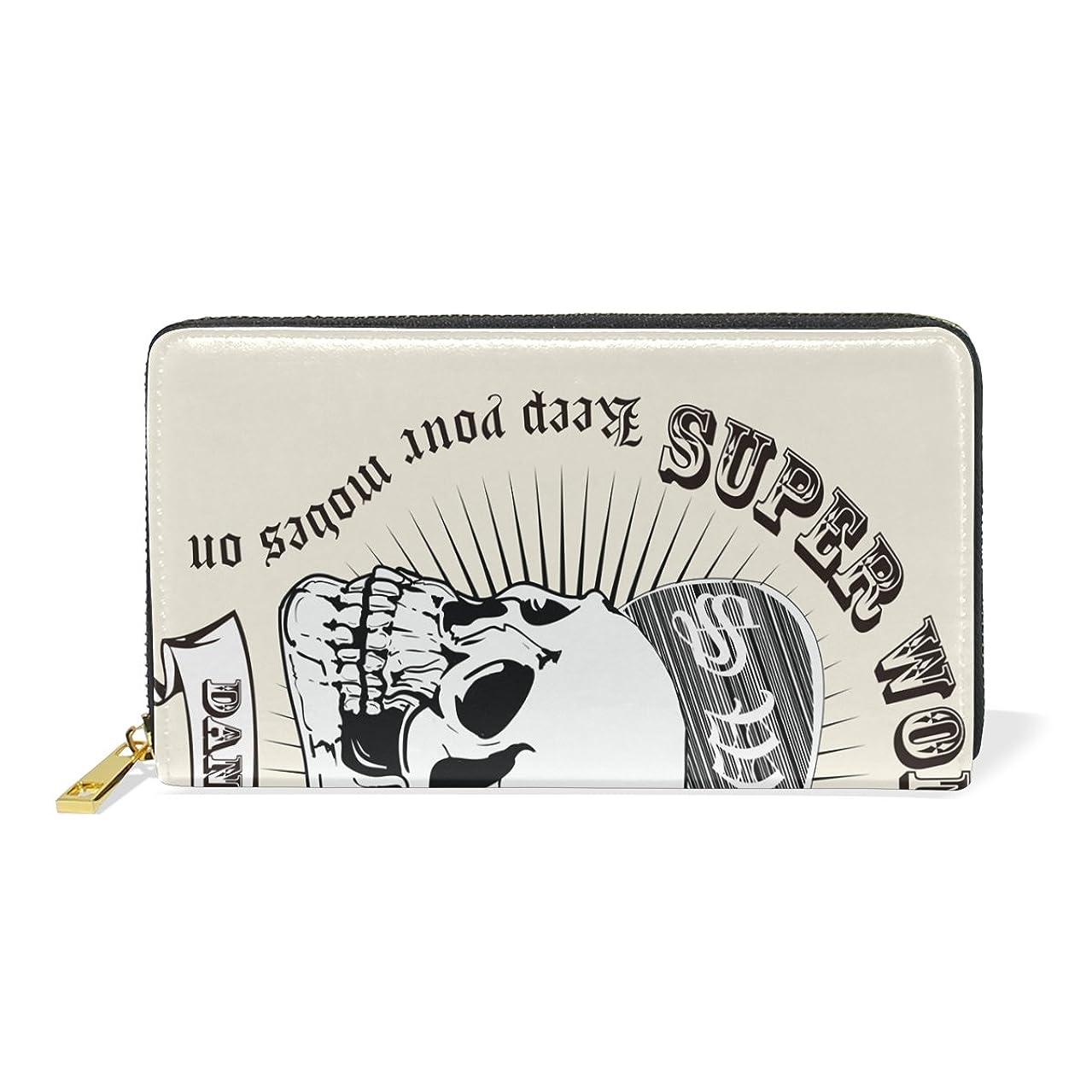 グレートオーク行商精査するAyuStyle レディース メンズ 長財布 PU レザー 北欧風 ドクロ かっこいい 髑髏 ファスナー 小銭入れあり お札入れ カード入れ 二つ折り 大容量 プレゼント 個性的