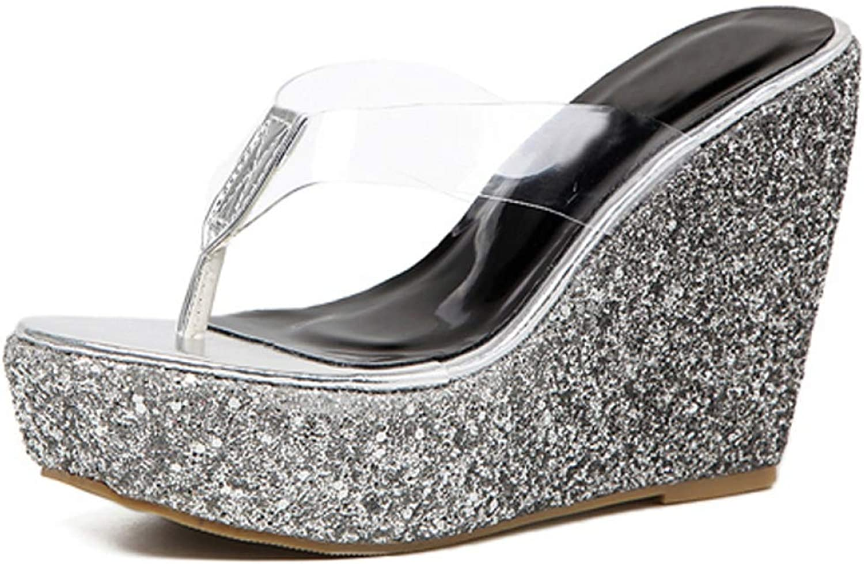Btrada Women Fashion Slippers Beach Flip Flop High Platform Wedges Outside shoes Summer Sandals