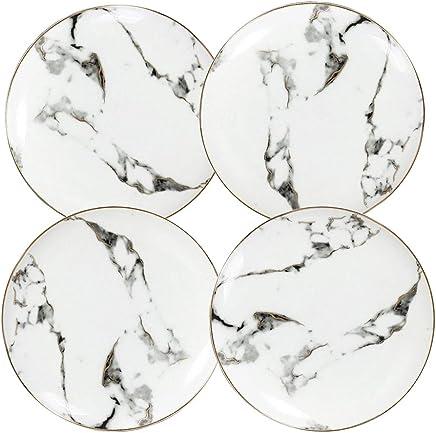 Coffeezone Slight Gold Inlay Fashion Marble Design Porcelain Dessert Plates Set of 4 (Slight Gold 8 inches)