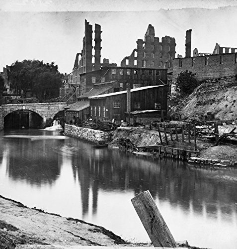 Civil War Richmond 1865 Nthe James River And Kanawha Canal Near The Haxall Flour Mills With The Ruins Of The Gallego Flour Mills In The Background At Richmond Virginia Following The American Civil War -  Granger Collection, GRC0002157
