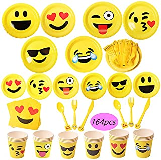foci cozi Emoji Party Supplies 164ct Emoji Paper Plates 7