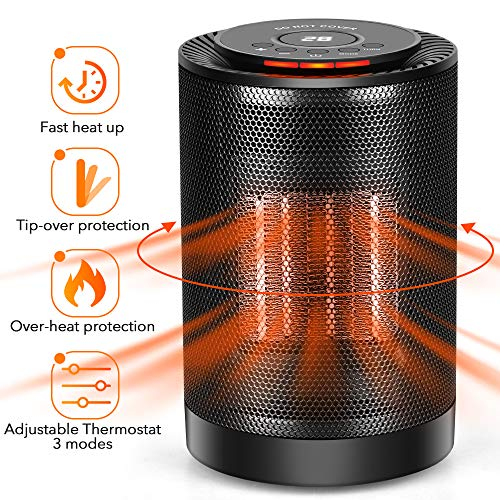 LONOVE PTC Space Heater - Portable Ceramic Heater for Office Bedroom Kids Baby Room Garage Car RV Desk Mini Area, Small Personal 1200W/600W Electric Heater Indoor with Thermostat Oscillation Heater Oscillating Space