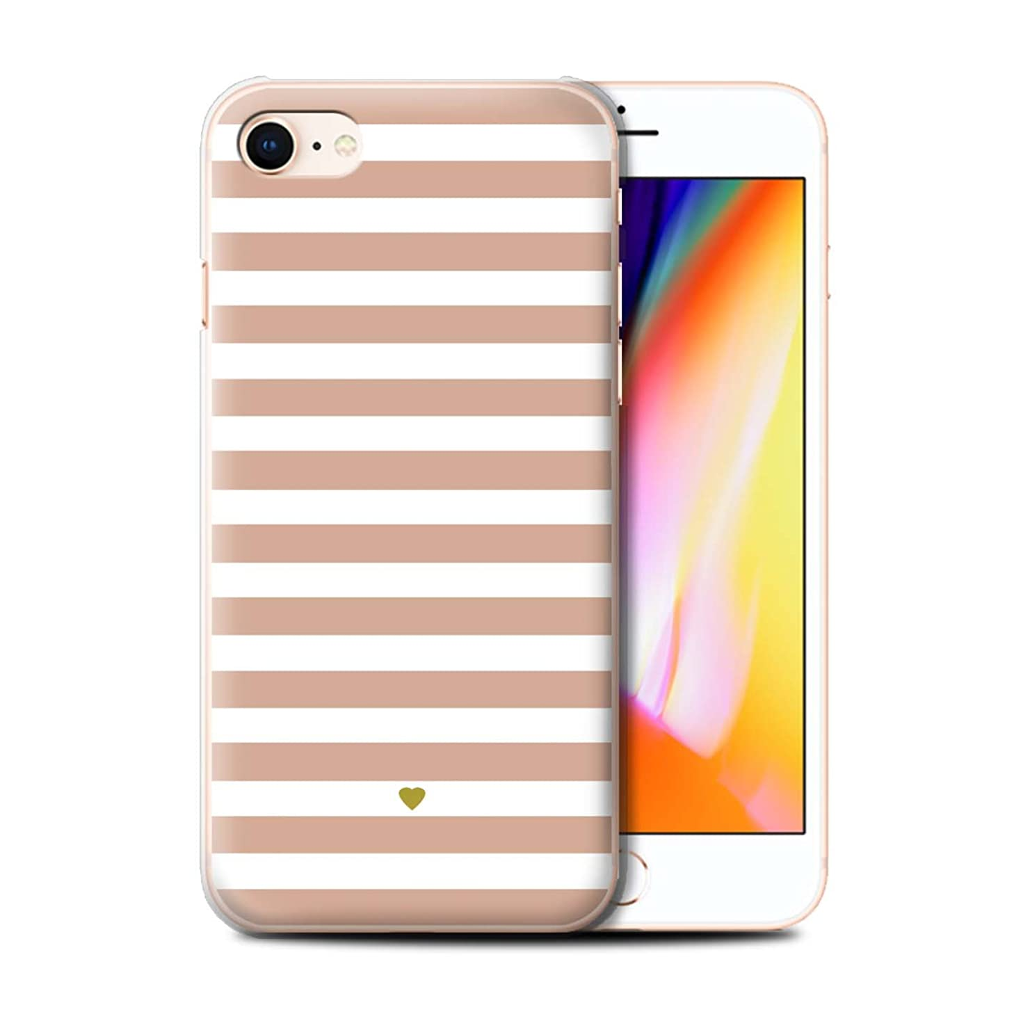 Personalized Custom Stripes/Striped Case for Apple iPhone 8 / Nude Pink Heart Design/Initial/Name/Text DIY Cover