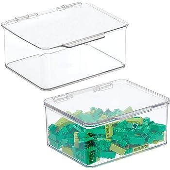 mDesign Juego de 2 cajas de almacenaje con tapa – Organizador de juguetes apilable para la habitación de los niños – Guarda juguetes fabricado en plástico – transparente: Amazon.es: Hogar