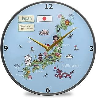 Chovy 掛け時計 サイレント 連続秒針 壁掛け時計 インテリア 置き時計 北欧 おしゃれ かわいい 和風 地図 青 ブルー かわいい 可愛い おもしろ 部屋装飾 子供部屋 プレゼント