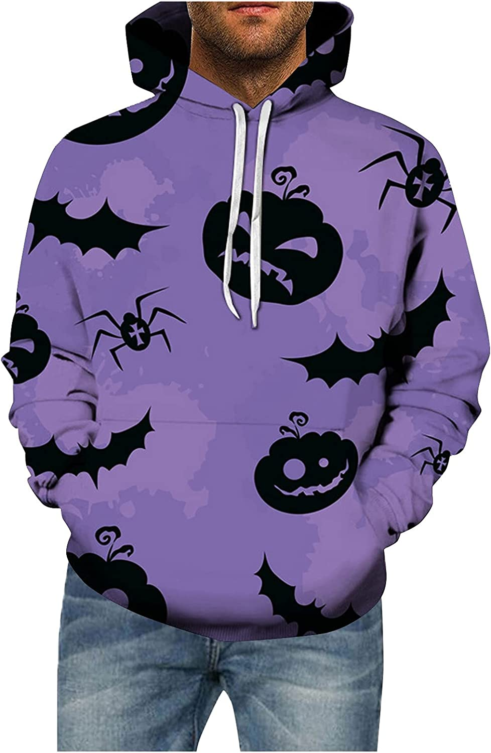 Mens Halloween Pumpkin Hoodies Pullover Big and Tall Casual Long Sleeve Funny Graphic Tees Workout Shirts