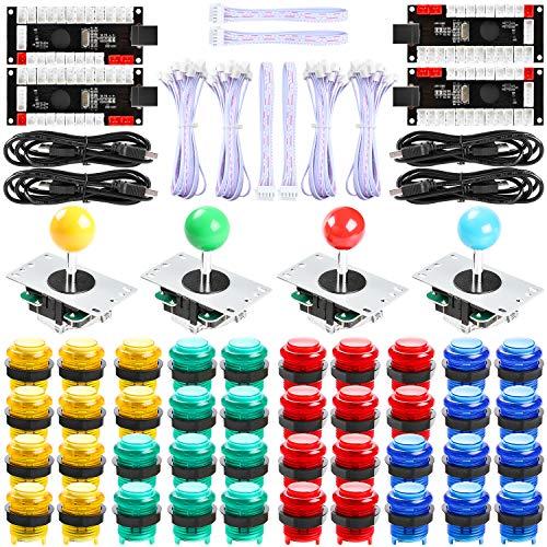 Easyget 4-Player LED DIY Arcade Kit - 4X Zero Delay LED USB Encoder + 4X Joystick + 40x LED Arcade Buttons for PC, Windows, MAME, Raspberry Pi (4P-LED-KIT, Red-Blue-Yellow-Green)