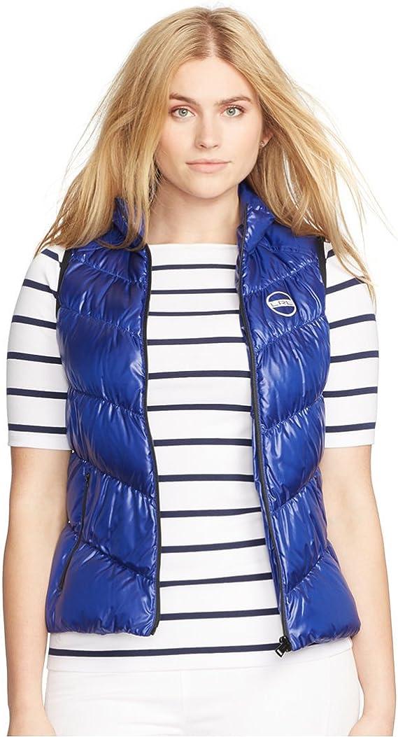 Lauren Ralph Lauren Womens Plus Size Puffer Full Zip Packable Vest, Blue, 2X