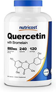 Nutricost Quercetin 880mg, 240 Veggie Capsules with Bromelain (165mg) - 120 Servings (440mg Quercetin Per Cap) - Gluten Fr...