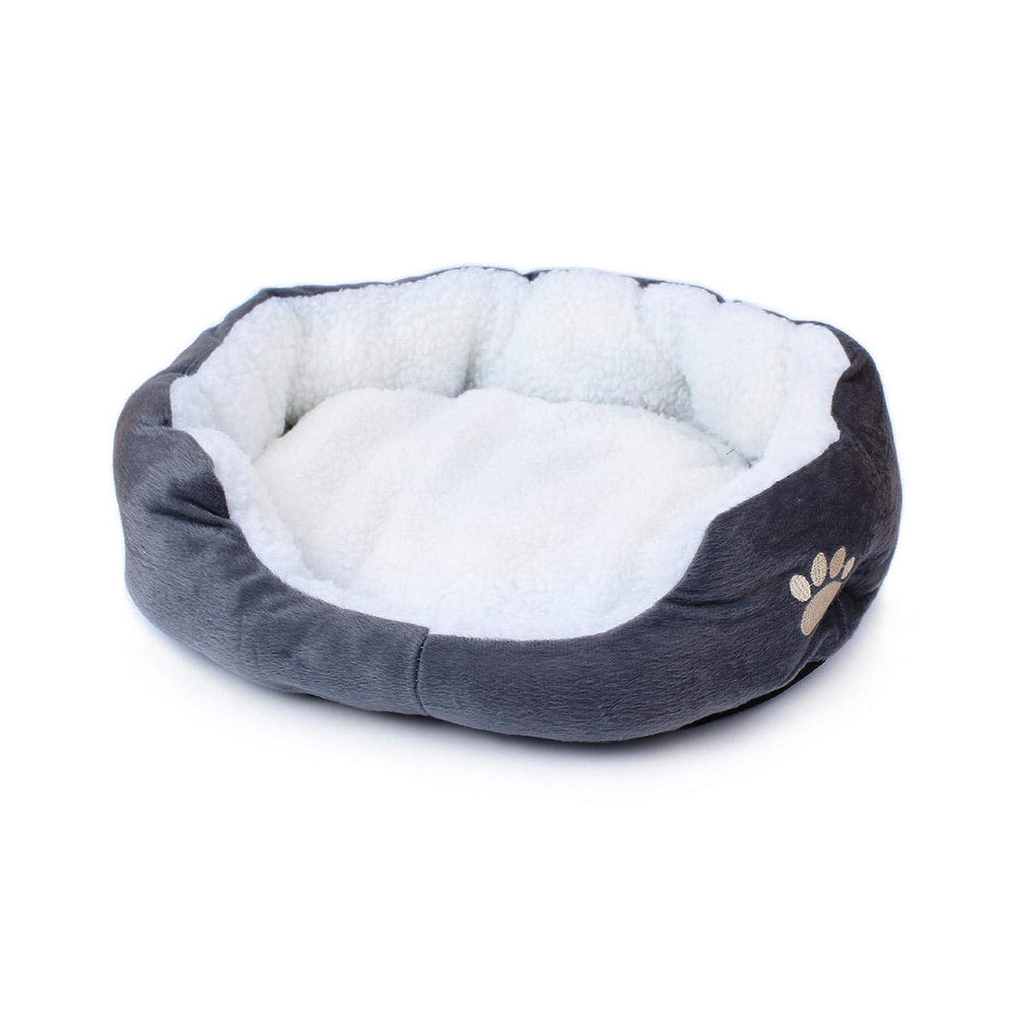 特徴発火するぐるぐるフリース大足プリントペット犬のベッドの巣秋と冬の 暖かい犬のベッドマット-gray-
