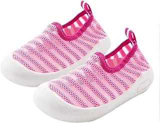 DEBAIJIA Chaussures pour Tout-Petits 1-4T Bébé Marche Enfants Baskets Rayures Semelle Souple Antidérapant Maille Matériau TPR