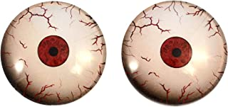 Crazy Bloodshot Mars Martian Glass Eyes Scary Creepy Horror Art Dolls Taxidermy Sculptures or Jewelry Making Cabochons Crafts Matching Set of 2 in Red and White (40mm)