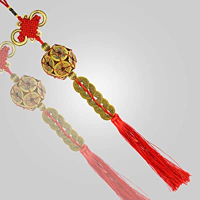 Reiki Crystal Products Feng Shui Hanging Coins Bell with Red Strings for Good Fortune