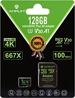 128GB Micro SD Card Plus Adapter - Amplim V30 A1 100MB/s 667X MicroSDXC Memory Card Pack 128 GB (Class 10 U3 UHS I XC) Mic...