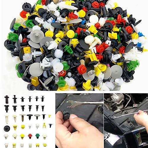 FuTaiKang 500 Pcs Clips Agrafe Boucle Hybride Décorative Multicouleur en Plastique pour Auto Voiture