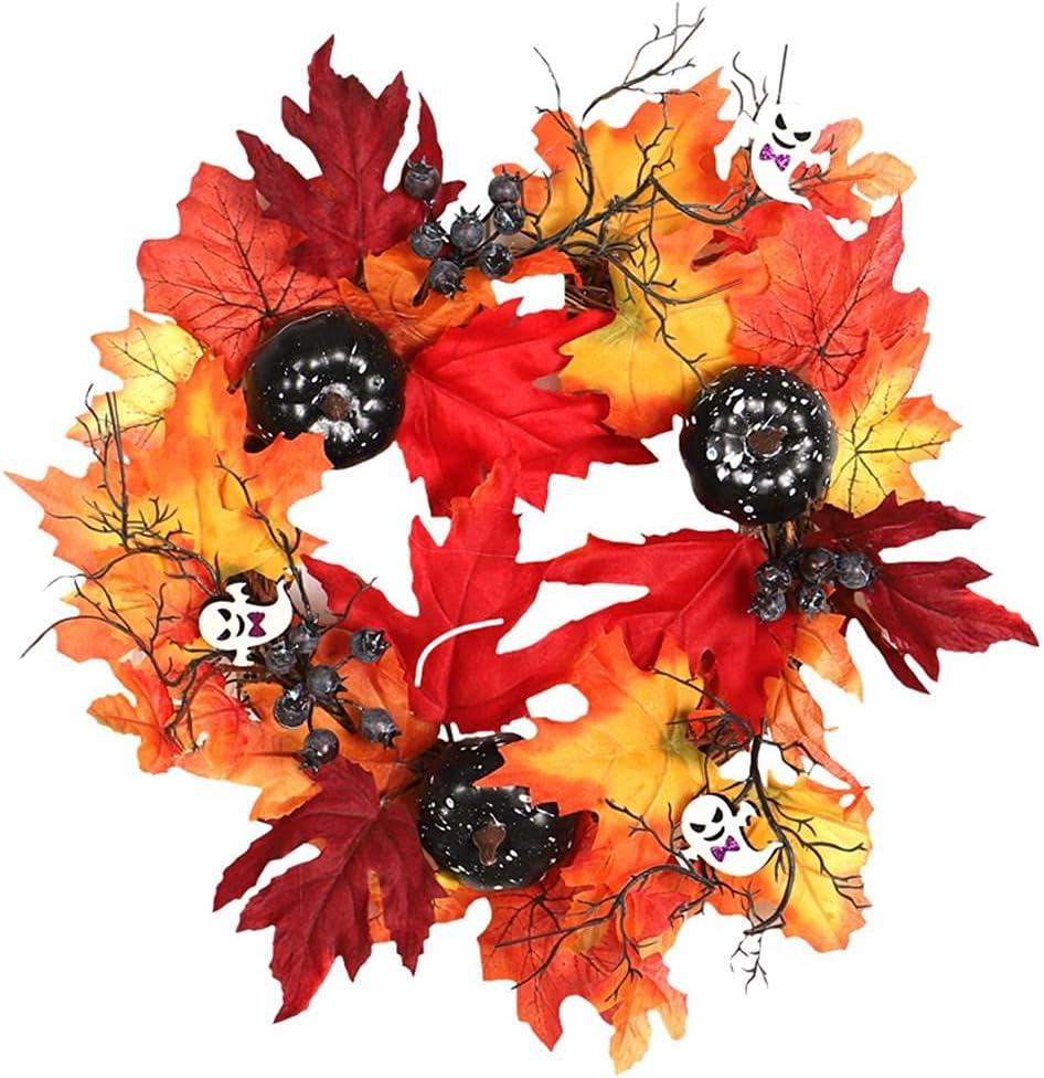 LZYY Halloween Wreath Black Pumpkin Max Over item handling ☆ 49% OFF White Ghost Vine Leaf Maple