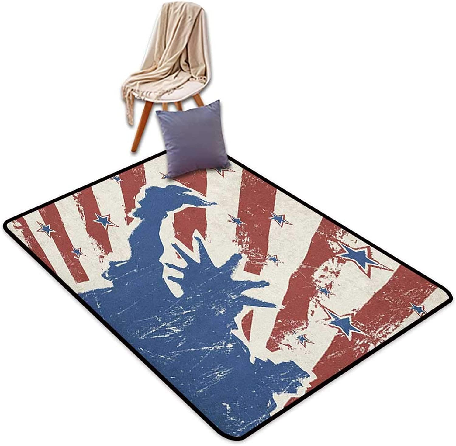 Interior Door Rug Bathroom Rug Slip 4th of July Sketch Style Statue of Liberty with Grunge Stripes and Stars Pattern Inner Door Rug W6'xL7'