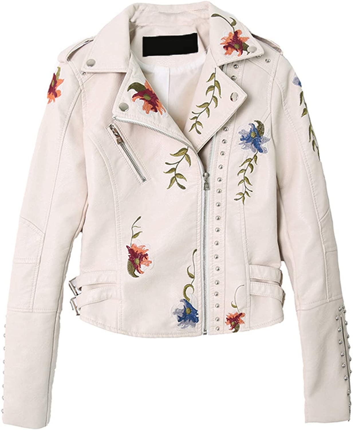 Hulione Embroidery Flowers Women Leather Jacket White Black Rivet Short Leather Coat Punk Female Outerwear