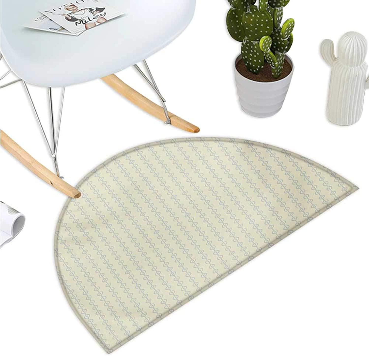Retro Half Round Door mats greenical Geometric Circular Pattern with Dots Continuous Chain Design Bathroom Mat H 47.2  xD 70.8  Pale Lavander and Cream