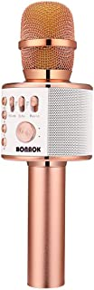 BONAOK Wireless Bluetooth Karaoke Microphone,3-in-1 Portable Handheld karaoke Mic Mothers Day Gift Home Party Birthday Speaker Machine for iPhone/Android/iPad/Sony/PC/All Smartphone(Rose Gold)