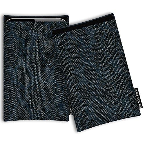 SIMON PIKE Hülle Tasche kompatibel mit Microsoft Surface Duo | Schutztasche Boston in 01 schwarz Schlange aus Kunstleder Handyhülle