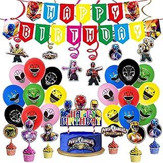 Power Ranger Party Supplies,Power Hero Balloons,Power Hero Birthday Decorations,Rangers Ninja Steel Cake Toppers,Super Her...
