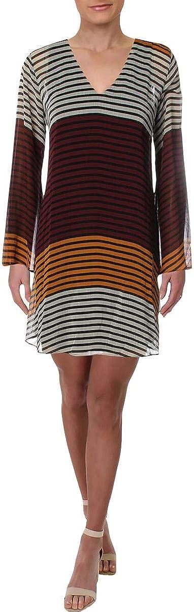 ECI New York Women's Striped Tunic Long Sleeve Flowy Chiffon Dress with V Neck