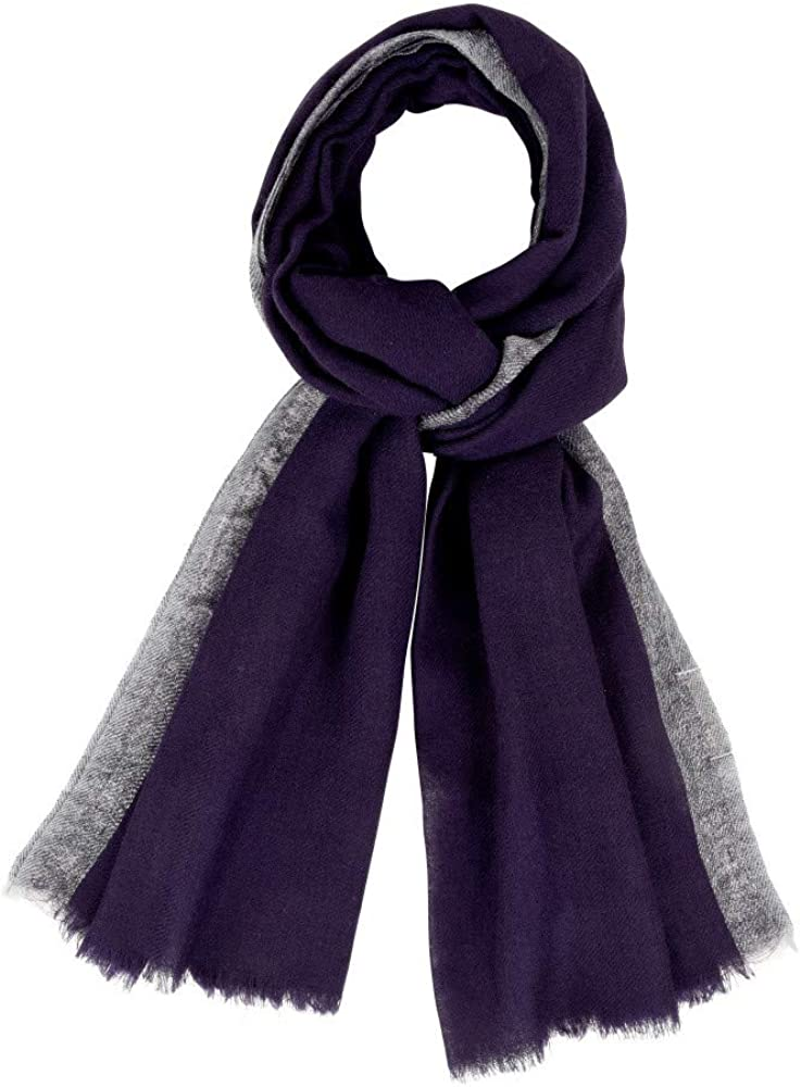 Unisex Scarf 100% Wool - Blue Navy Color and Silver Lurex Edging