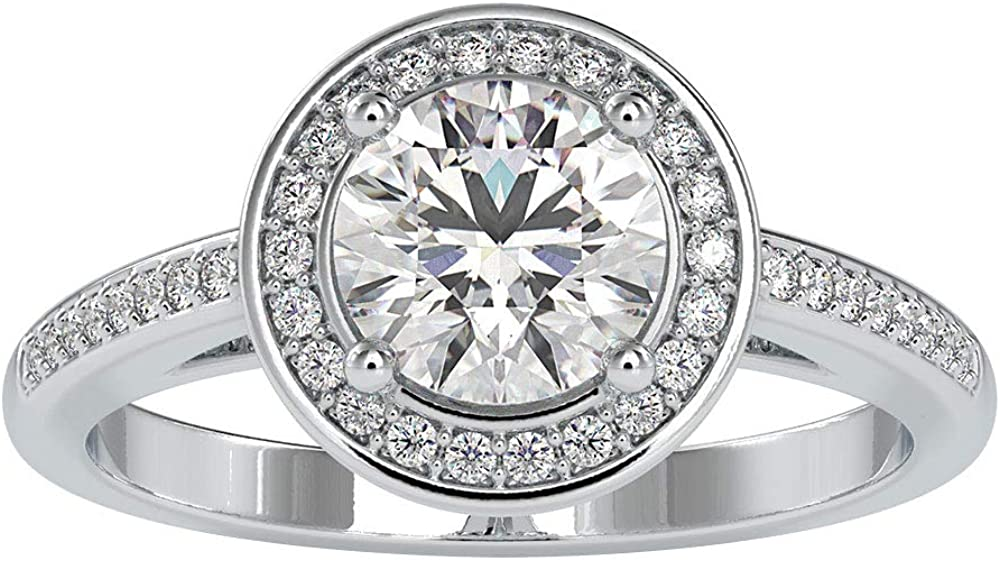 1.49 Ct Certified Moissanite Halo Wedding Ring, Classic Anniversary Gold Promise Ring, DE-VS1 Color Clarity Solitaire Gemstone Ring, Unique Women Ring