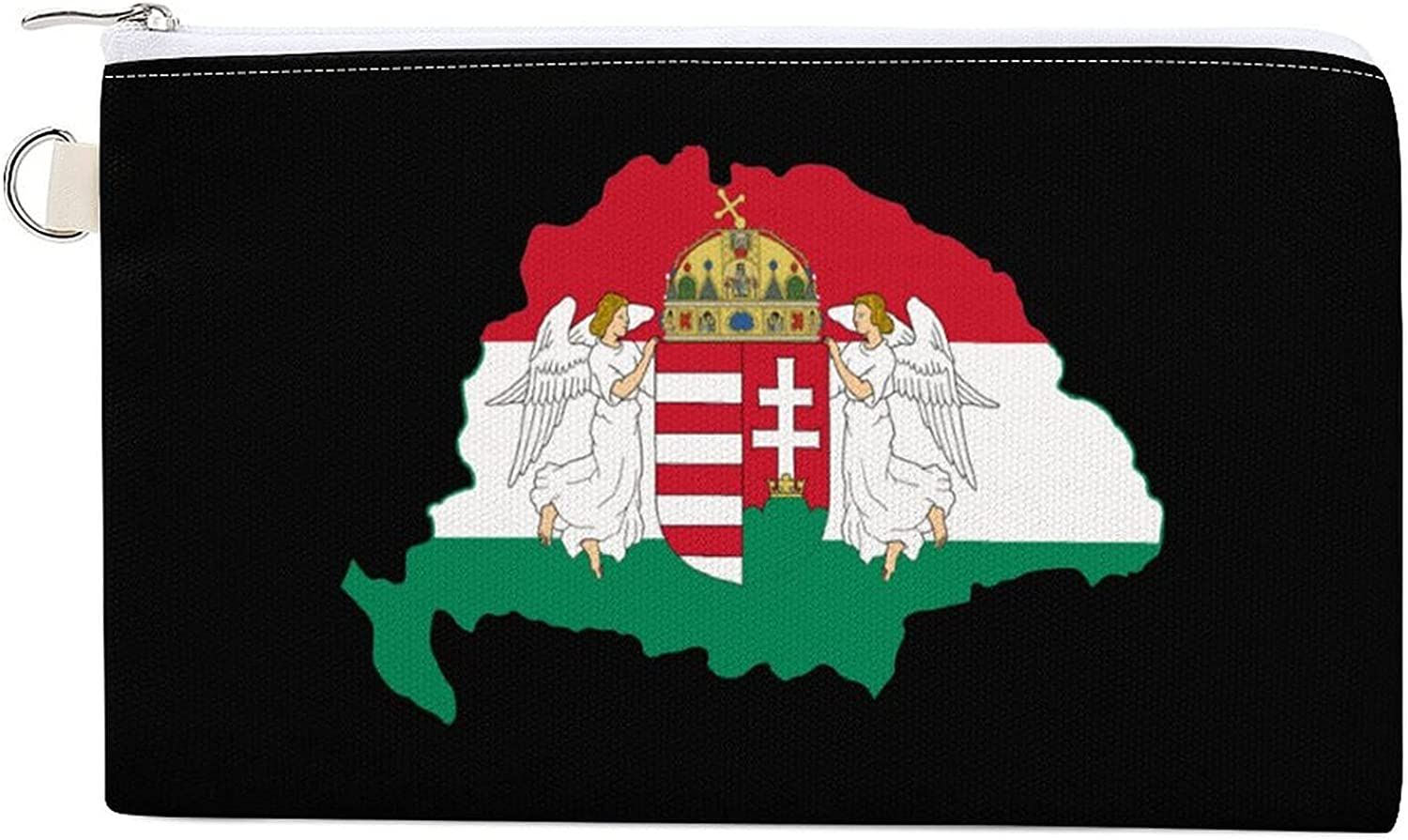 Kingdom of Hungary Flag Map Women's Canvas Coin Purse Change Pouch Zip Wallet Bag