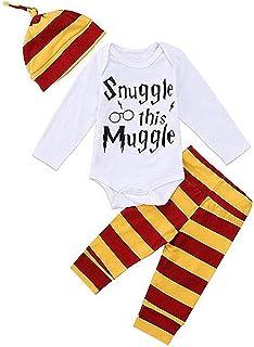 T TALENTBABY Neugeborenes Baby Jungen Mädchen Bekleidungssets Strampler Gestreiftes Oberteil  Hose  Hut Set Overall Outfits …