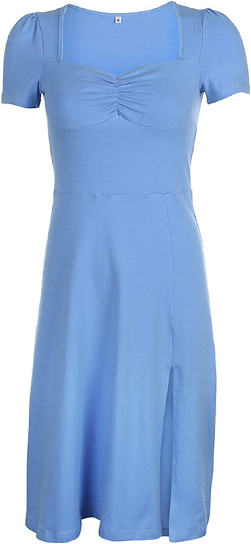 Women's Dress Summer Slim Sexy Square Neck Pleated Puff Sleeves Slim Split