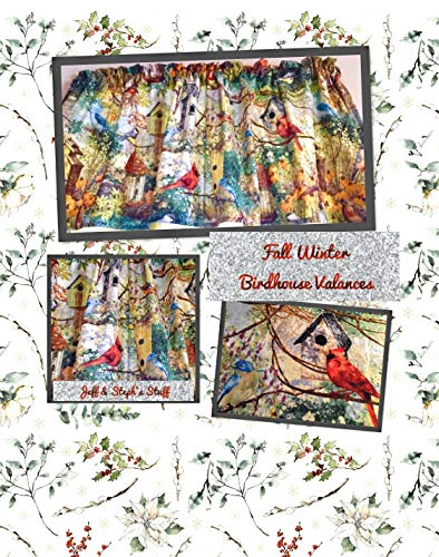 Colorful Blue Beautiful Birds Birdhouses with Outdoor Theme Nature Cotton Window Curtain Valance 42W x 15L