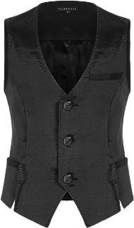 Punk Rave Mens Gothic Waistcoat Vest Black Satin Steampunk Vampire Wedding Vintage Victorian Regency Aristocrat WY-1191