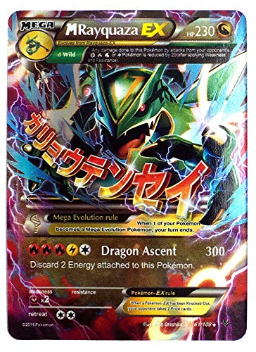 """Mega Rayquaza EX 61/108 English Card Normal Size 2.5"""" x 3.5"""" in Sleeve and Safe Box Flash Light Card Free 1 EX Random in Pack"""