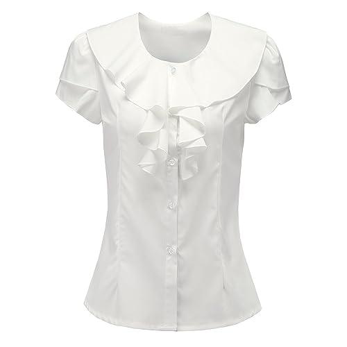 e5369e7154055a Shirts for Women Short Sleeves Vintage Victoria Ruffle Black