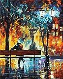 Gofission Paint by Numbers Fall Trees Chair People, 16 x 20 pulgadas, kits de pintura numérica (otoño, sin marco)