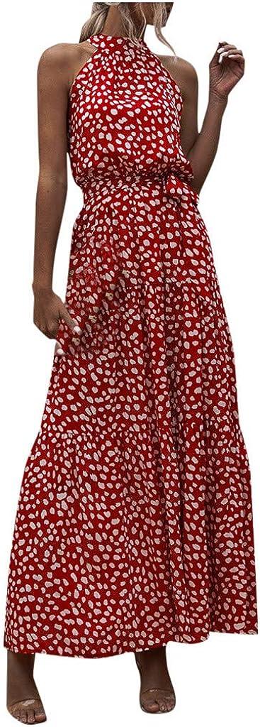 Kangma Women's Casual Halter Neck Sleeveless Floral Long Maxi Dress Backless Loose Ruffle Sundress with Belt