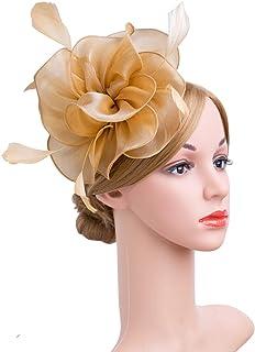 a31cd963 Cizoe Fascinators Headband for Women Tea Party Hat Kentucky Derby Wedding  Flower Mesh Feathers Hair Clip