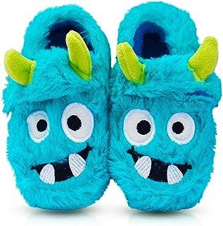 LA PLAGE Boy's Cotton-Shaped Monster Upper House Cartoon Warm Soft Bedroom Slippers