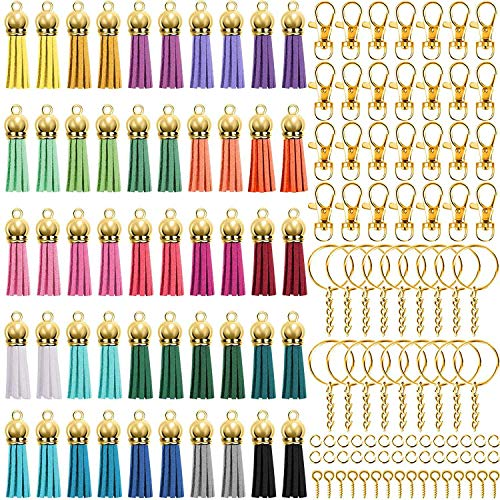 Fauge 350 Pcs Keychain Tassels Set with 50 Pcs Gold Cap Tassel for Keychain and Jewelry Making 50 Pcs Keychain Hook
