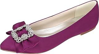 Vimedea Womens Rhinestone Dress Pumps Flat Point Toe Slip On Wedding 2046-20