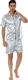 Lars Amadeus Men's Nightwear Short Sleeve Top and Pants Summer Sleepwears Satin Pajama Sets