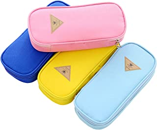 iEay Set de 4pcs Sac Papeterie Zipper, Belle Étui à crayons en toile couleur unie pour Sac de Rangement Organisateur des C...
