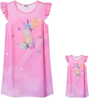 Jxstar Matching Doll & Girls Nightgowns Pajamas Princess Night Shirts Sleepwear