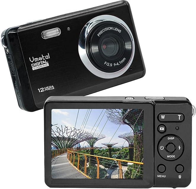 Vmotal GDC80X2 Mini cámara Digital compacta 12 MP HD TFT LCD para niños/Principiantes/Ancianos (Negro & Negro)
