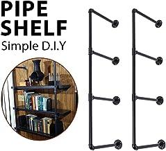 Dongxiong Industrial retro wall-mounted bookshelf DIY store shelves shelf bracket iron pipe layer 4 family kitchen decorat...
