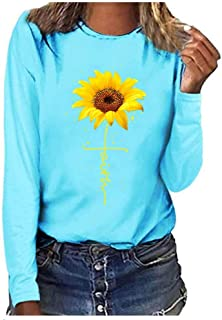 T-Shirt, Women Sunflower Print Loose Round Neck Short/Long Sleeve Basic Blouse Tops