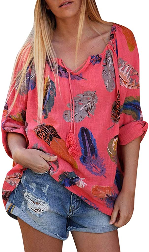 lowest price WOCACHI Floral Blouses for Womens Flared Sl Long Feather Leaves Indianapolis Mall