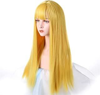Hairpieces Long Cosplay Wig with Bangs Light Blue Yellow Purple Synthetic Straight Hair Heat-resistant Rose Net Wigs for W...